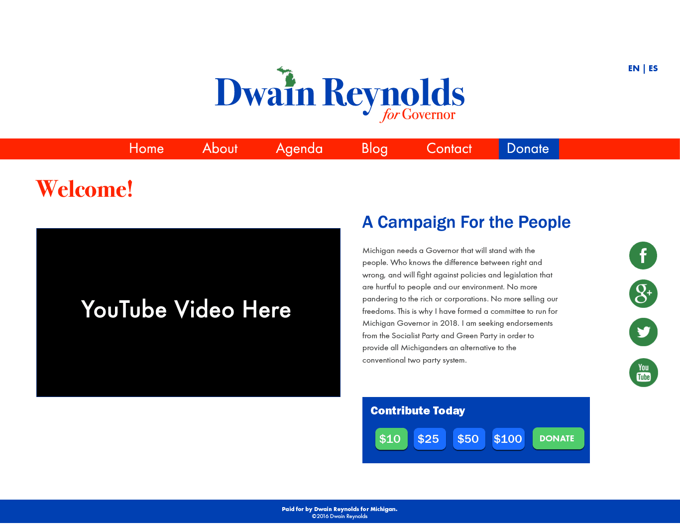 Dwain Reynolds Homepage Website Design