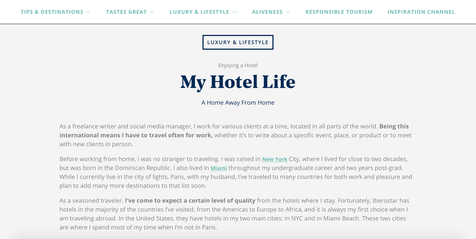 My Hotel Life for Iberostar Inspiration Guide