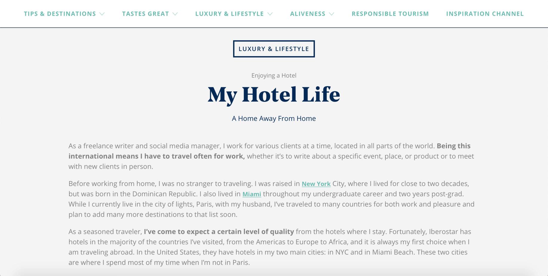 My Hotel Life for Iberostar Inspiration Guide